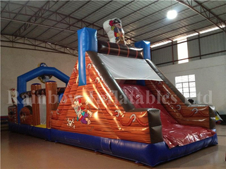 Large Indoor Commercial Inflatable Pirate Obstacle Course for Children
