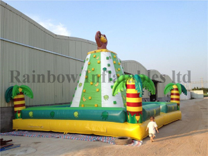 Large Outdoor Inflatable Sport Game Rock Climbing Wall Jungle Theme For Kids