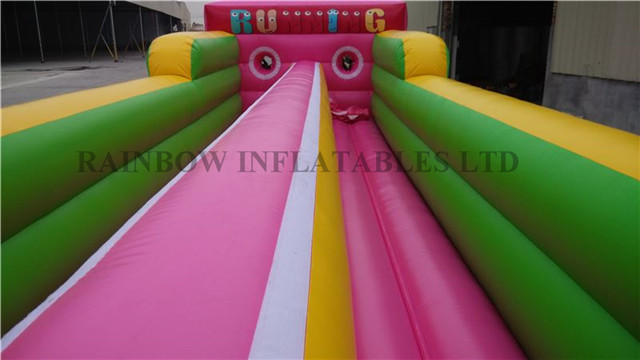 RB91005(10.5x3.3x2.4m) Inflatable Pink color cartoon theme Dounble line bungee run