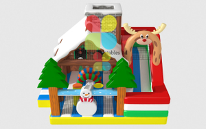 Inflatable Santa House Funcity X Mass Snowman Ice Theme Playground with Slide And Bouncer New Design