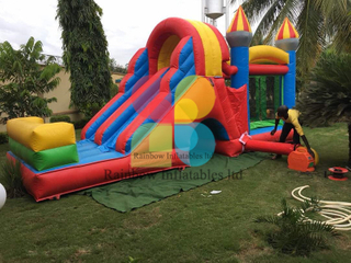 Inflatable Attraction Fantastic Colourful Bouncy Castle with Double Slide for Rent And Events