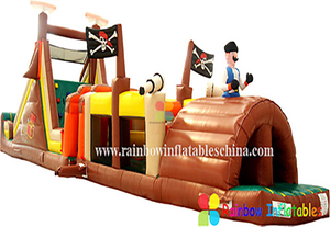 Inflatable New design pirate obstacle bouncer castle inflatable with slide