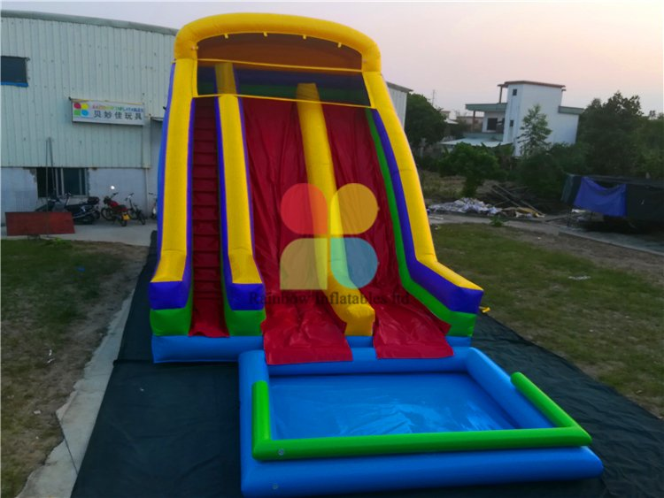 Large Commercial Inflatable Rainbow Color Water Slide for Kids
