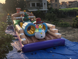 Inflatable Christmas Long Obstacle Course for Kids