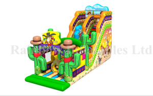 RB03012(8x6x4m)Inflatable cactus sliding funcity inflatable jumping animal