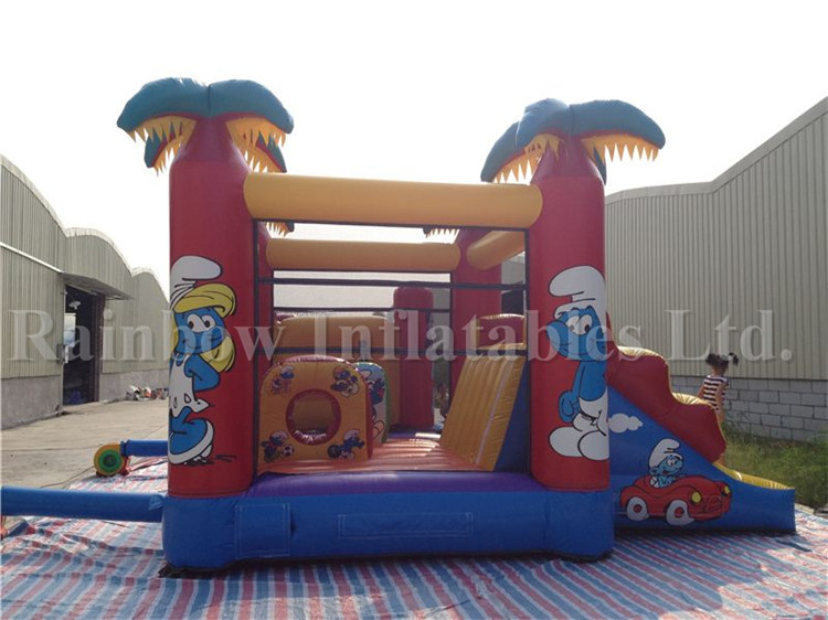 The Smurfs Commercial Inflatable Combo Bounce for Kids