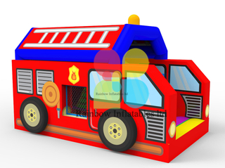 Durable 0.55mm PVC Small Firemen Inflatable Fire Truck Jumping Bouncer House for Kids Party