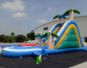 Palm tree design inflatable water slide kids play game with free blower