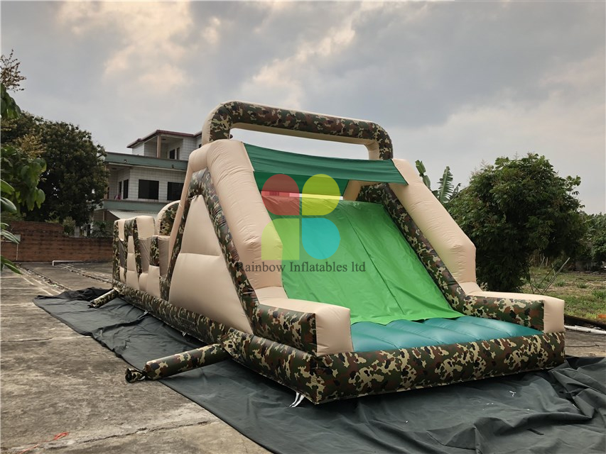 Army Green Giant Commercial Inflatable Obstacle Course for Kids Inflatable Obstacles Game Inflatable Obstacles Paintball