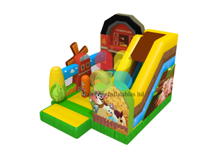 Milk cow bouncerPVC farm theme inflatable bouncy house slide for kids