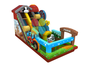 12X5X6.9m Happy farm style inflatable slide with bouncer, funny and attractive jumper