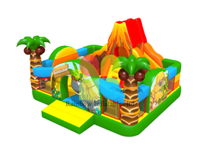 inflatable dinosaur theme bouncer castle with slide with flame Mountain