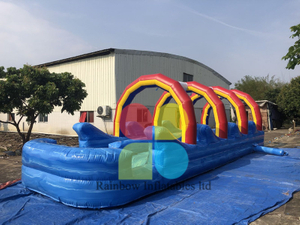 factory price custom slip n slide inflatable water slide the city for sale with arch and pool