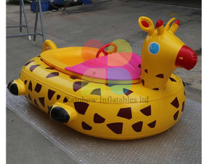 Yellow Giraffe bumper boat with remote control for kids