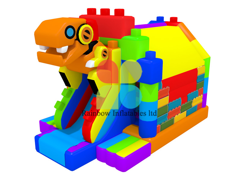 Dinosaur puzzle inflatable slide Jumping bouncy Combo