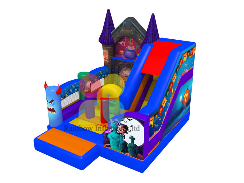 Happy Halloween Holiday inflatable Funcity pumpkin Jumping playground with Slide