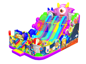 Rainbow new design inflatable Alien Base slide for rental business