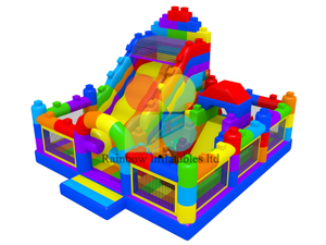 2020 New Design Popular Lego puzzle inflatable slide Funcity playground