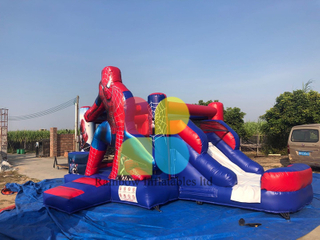 Customized cheap commercial Spiderman theme inflatable bouncer castle jumping bouncy inflatable slide