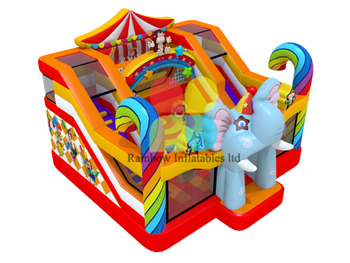 Colorful Elephant Circus Inflatable Funcity Playground with slide for kids