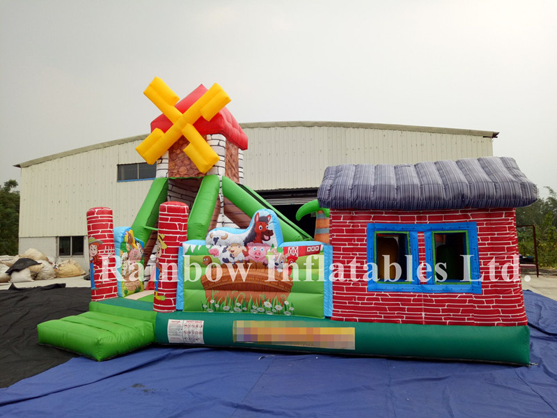 Commercial Mini Inflatable Animal Farm Bounce Playground Funcity for Toddlers
